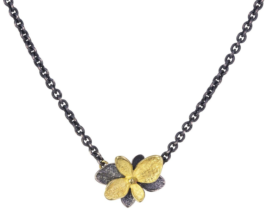 Gold and Blackened Silver Hydrangea Twin Necklace - TWISTonline