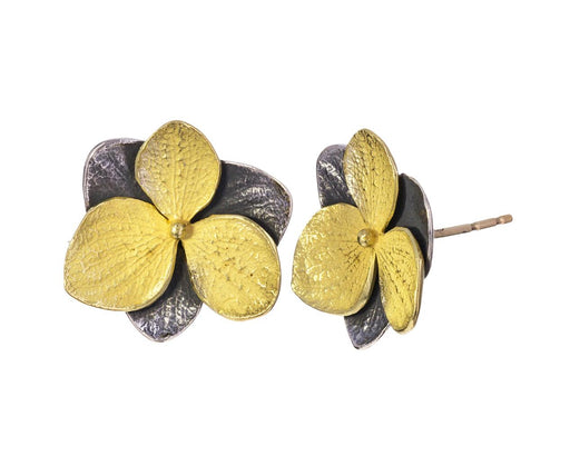 Blackened Silver and Gold Hydrangea Earrings - TWISTonline