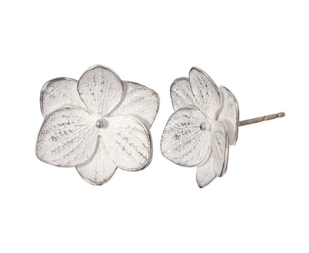 Silver Hydrangea Flower Twin Post Earrings - TWISTonline