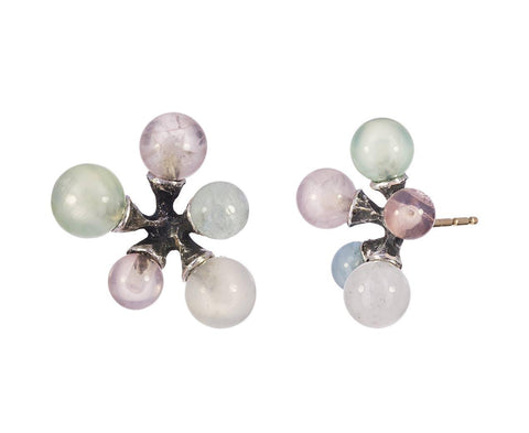 Rose Quartz, Aquamarine and Prehnite Jacks Earrings - TWISTonline