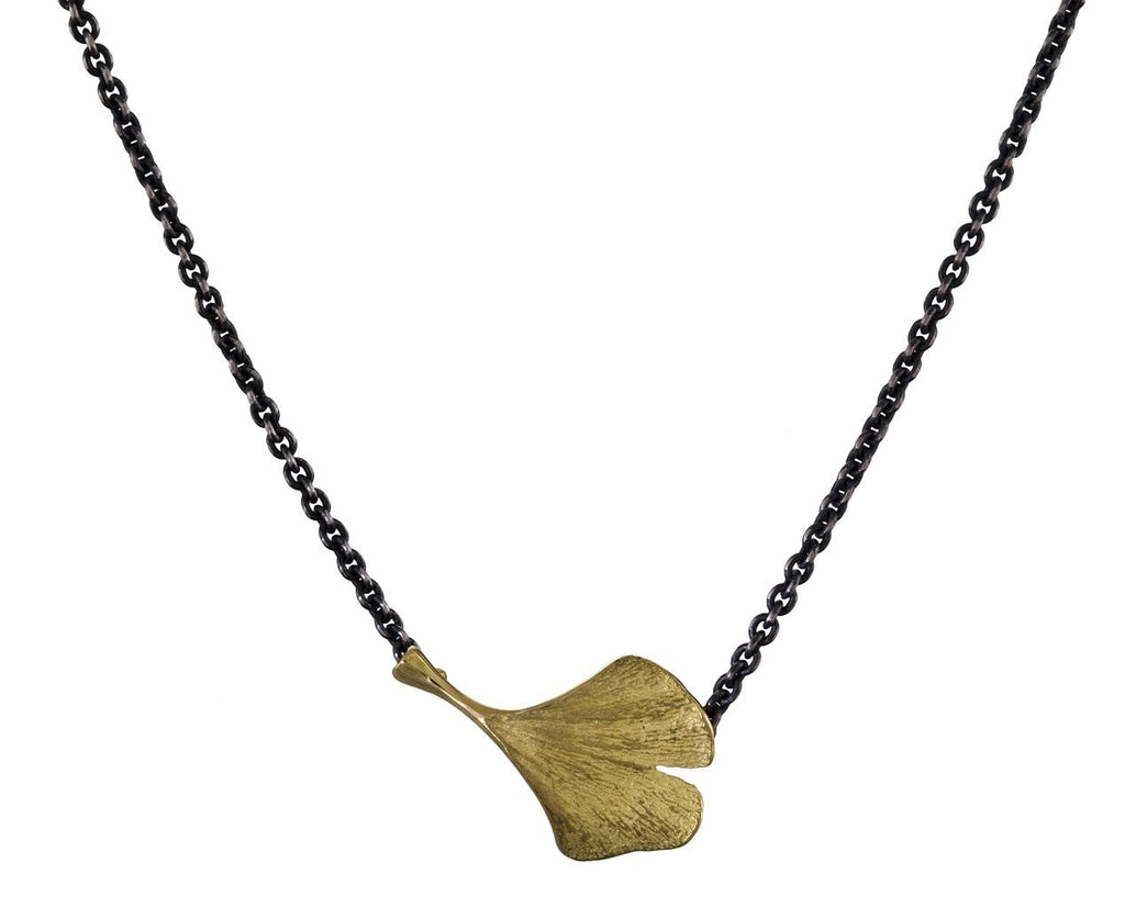 Gold and Silver Ginko Leaf Pendant Necklace - TWISTonline