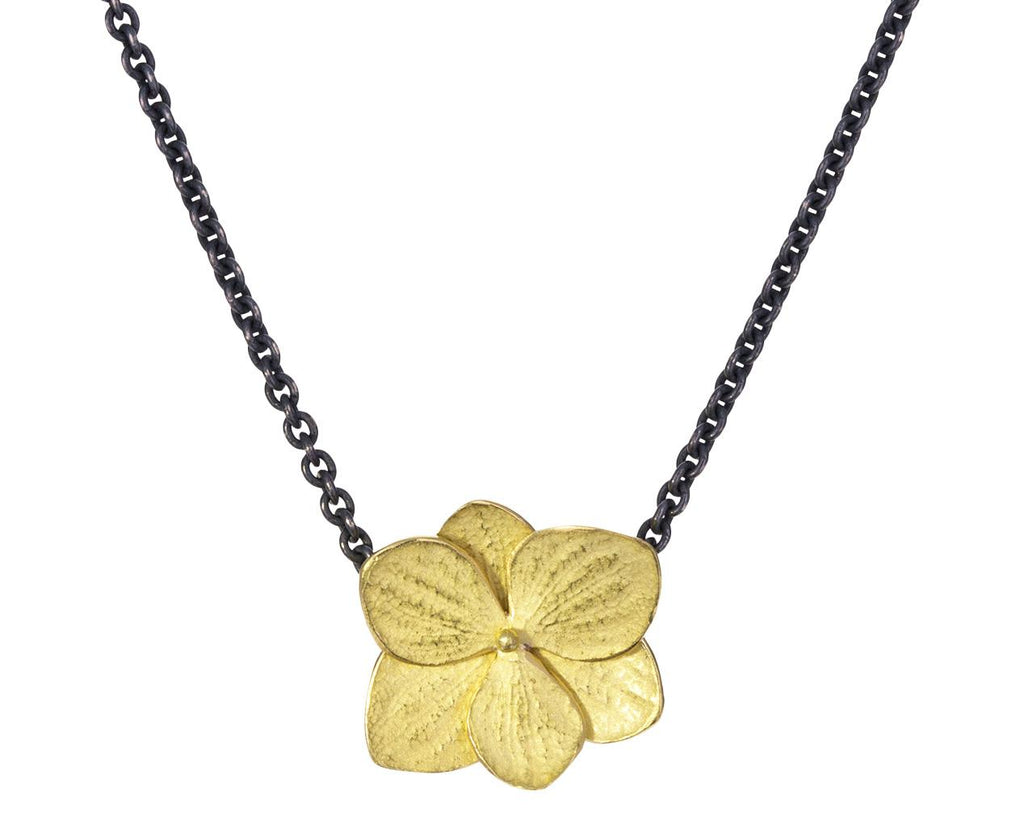 Gold Hydrangea Twin Flower Pendant Necklace - TWISTonline