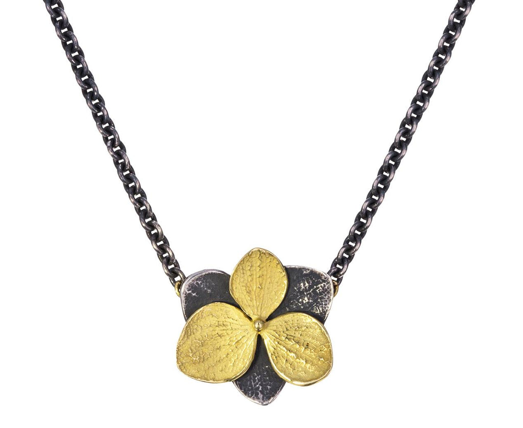 Silver and Gold Hydrangea Pendant Necklace - TWISTonline