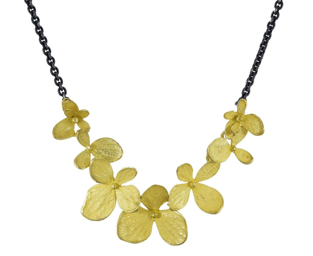 Two-Tone Hydrangea Necklace zoom 1_john_iversen_silver_gold_hydrangea_leaf_necklace