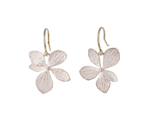 Single Silver Hydrangea Drop Earrings - TWISTonline
