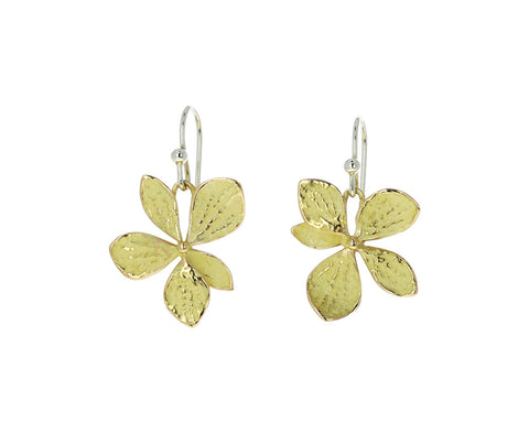 John Iverson Single Gold Hydrangea Drop Earrings
