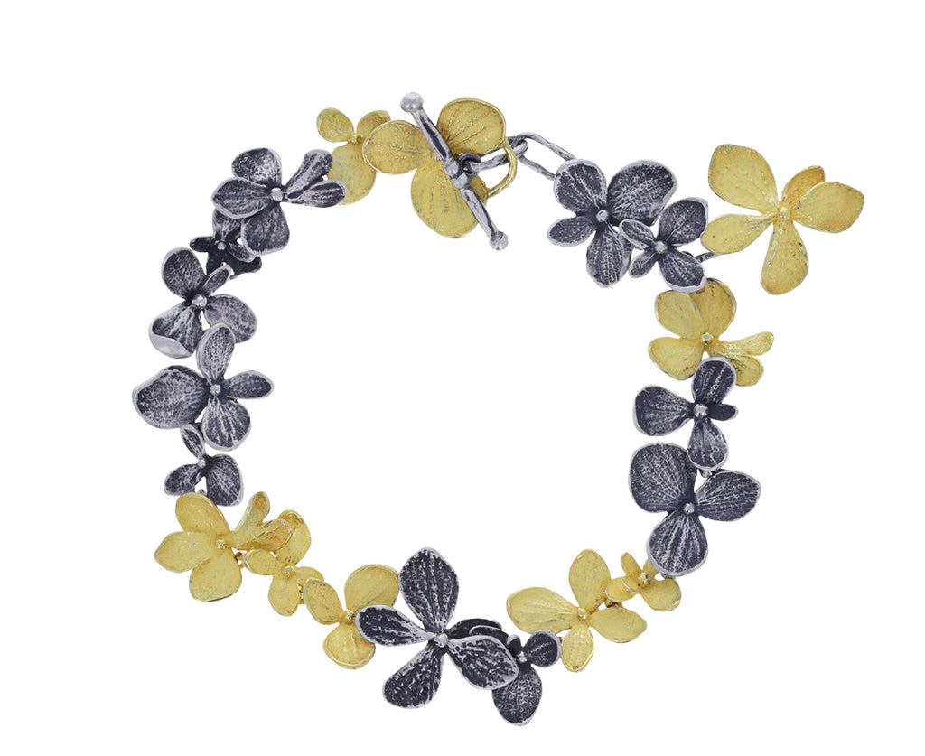 Gold and Silver Hydrangea Bracelet