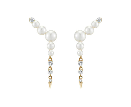 Pearl and Diamond Prive Ear Climbers - TWISTonline