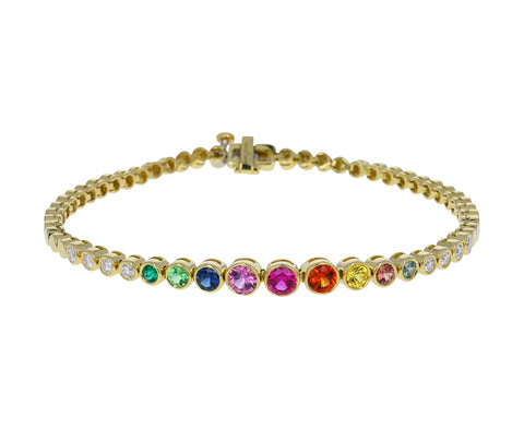 Rainbow Gemstone Tennis Bracelet