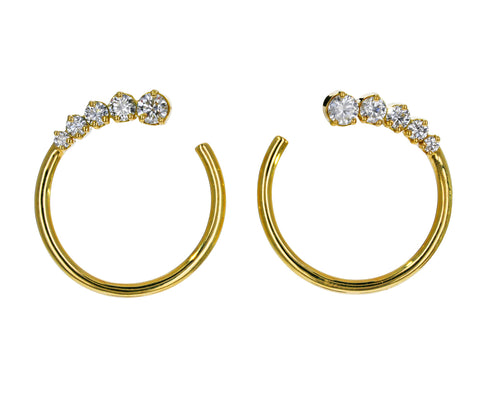 Prive Graduated Diamond Hoop Earrings - TWISTonline