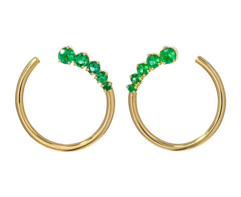 Prive Graduated Emerald Hoop Earrings