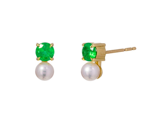Emerald and Pearl Petite Prive Earrings