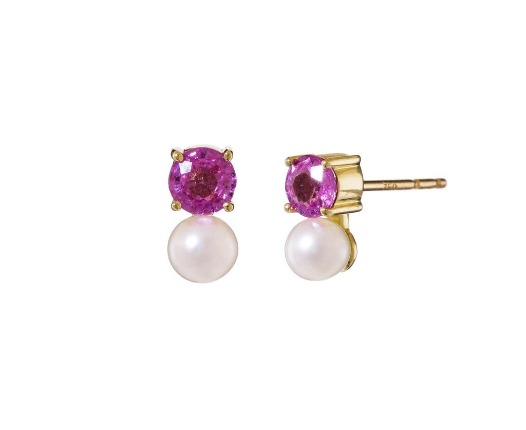 Pearl and Sapphire Petite Privé Earrings - TWISTonline
