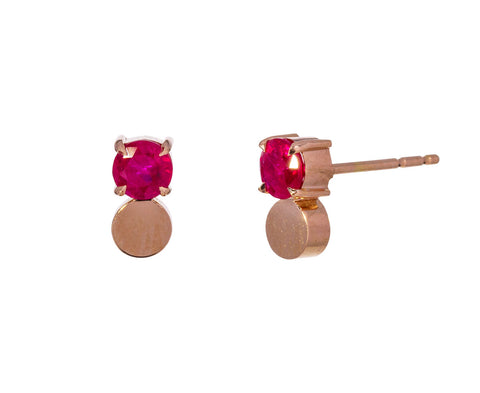 Rose Gold Ruby Petite Prive Earrings - TWISTonline