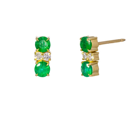 Double Emerald and Diamond Prive Earrings