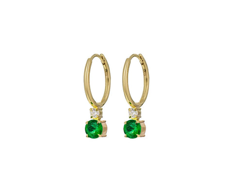 Emerald and Diamond Petite Privé Hoops - TWISTonline