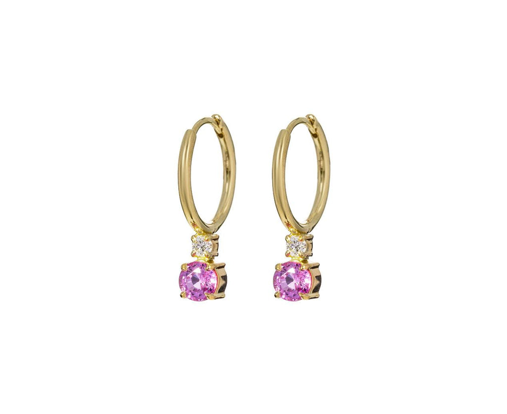 Diamond and Pink Sapphire Petite Privé Hoops - TWISTonline