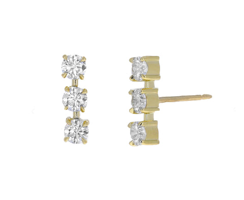 Triple Toujours Diamond Stud Earrings