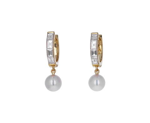 Baguette Diamond and Pearl Prive Hoops