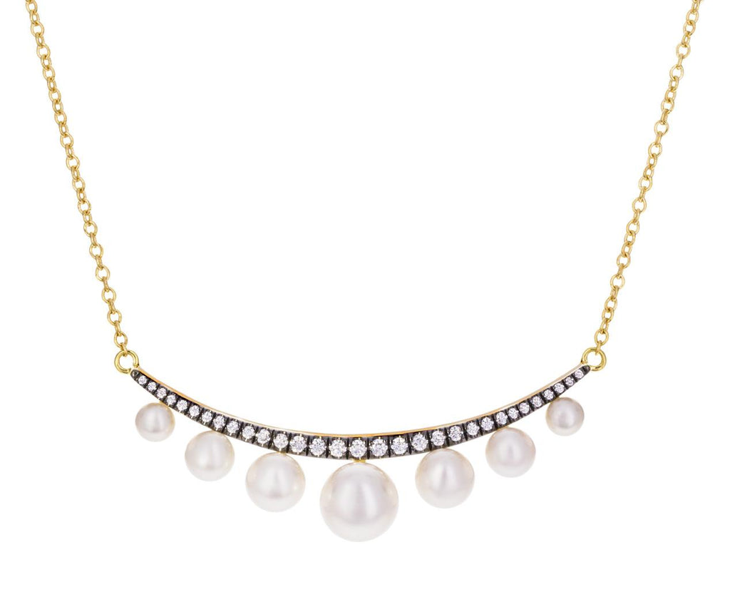 Diamond and Pearl Crescent Necklace - TWISTonline