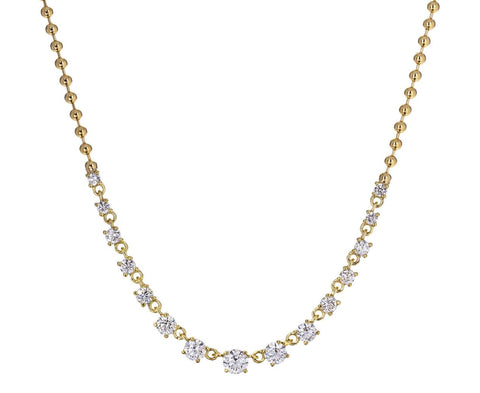 Graduated Diamond Ball Chain Necklace - TWISTonline
