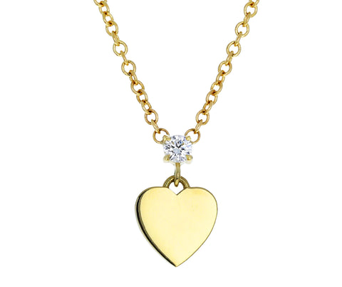 Diamond Heart Disc Pendant Necklace