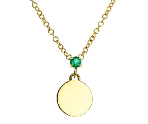 Prive Emerald Disc Drop Necklace