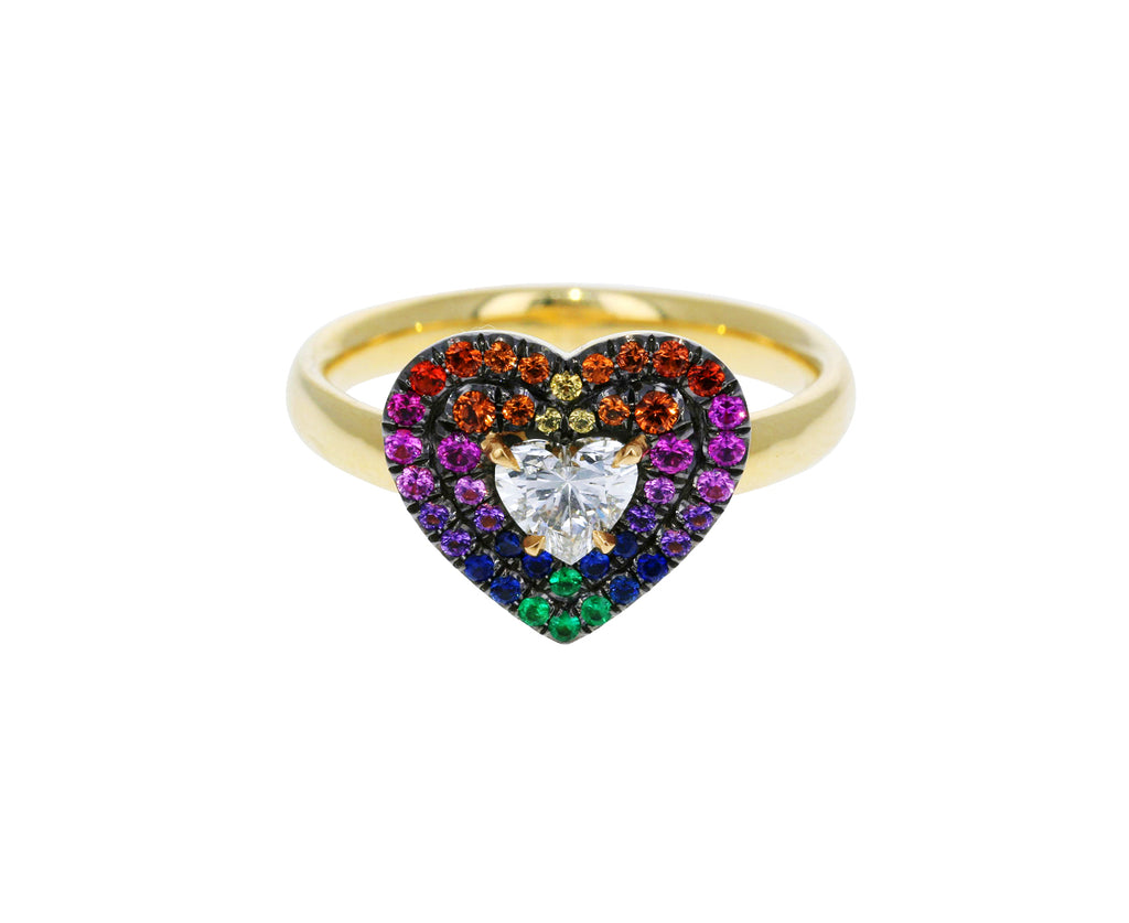 Rainbow Sapphires and Diamond Prive Heart Ring