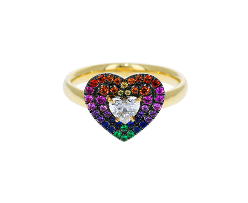 Rainbow Sapphires and Diamond Prive Heart Ring - TWISTonline