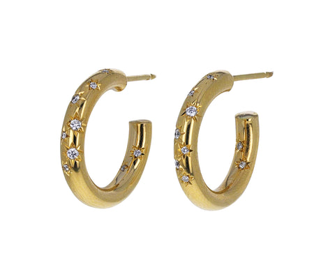 Star Set Diamond Hoop Earrings