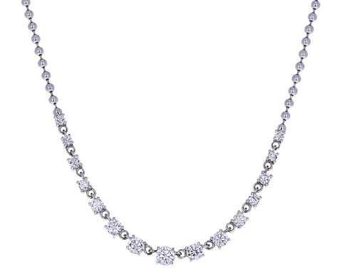 White Gold Graduated Diamond Ball Chain Necklace