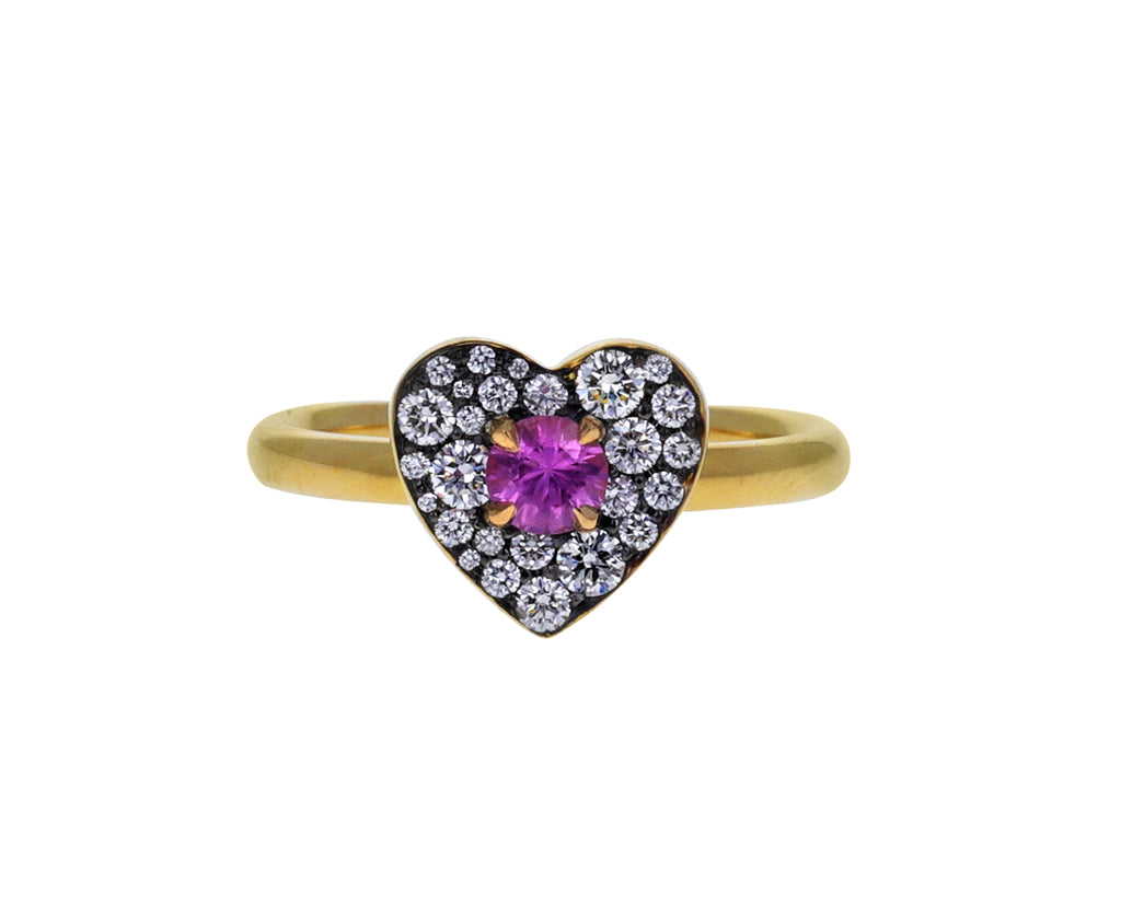 Pink Sapphire and Diamond Heart Ring