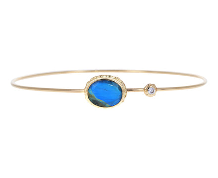 Blue Rainbow Moonstone and Diamond Bracelet - TWISTonline