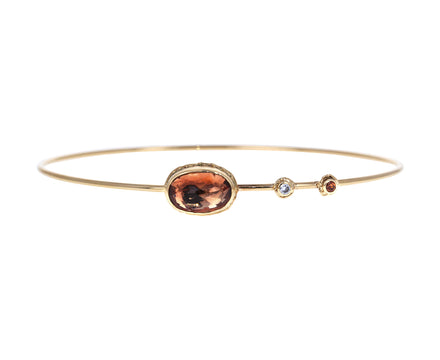 Oregon Sunstone, Sapphire and Diamond Bracelet