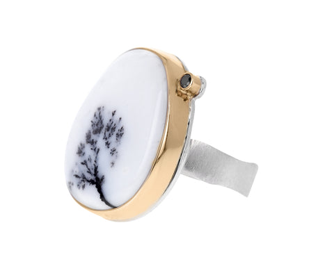 Asymmetrical Dendritic Agate and Black Diamond Ring