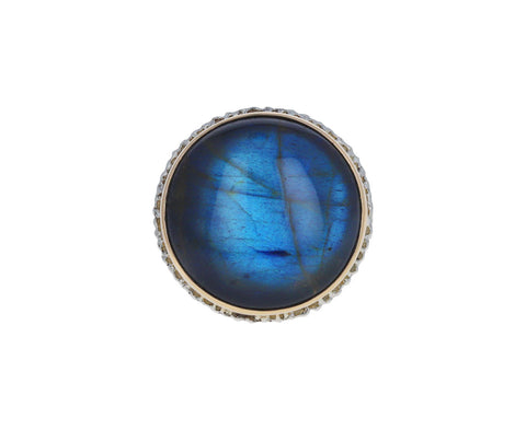 Smooth Round Labradorite Ring