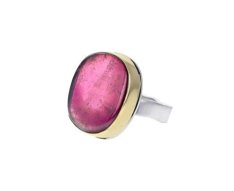 Asymmetrical Smooth Pink Tourmaline Ring