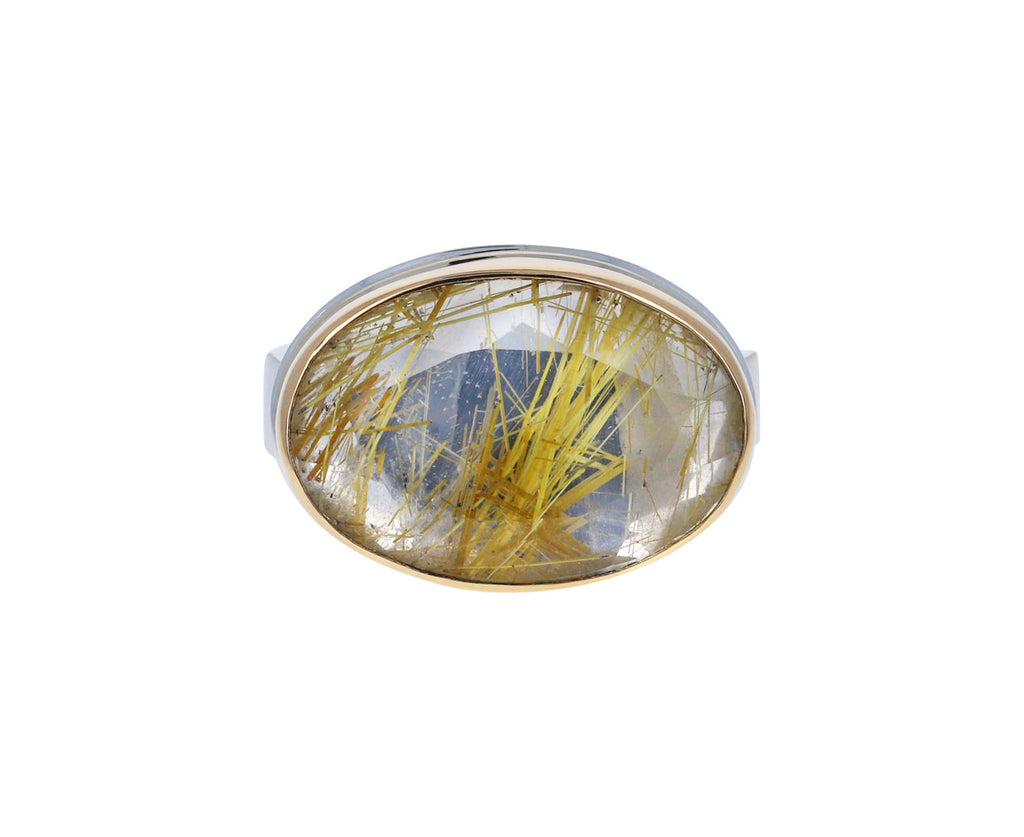 Table Up Golden Rutilated Quartz Ring