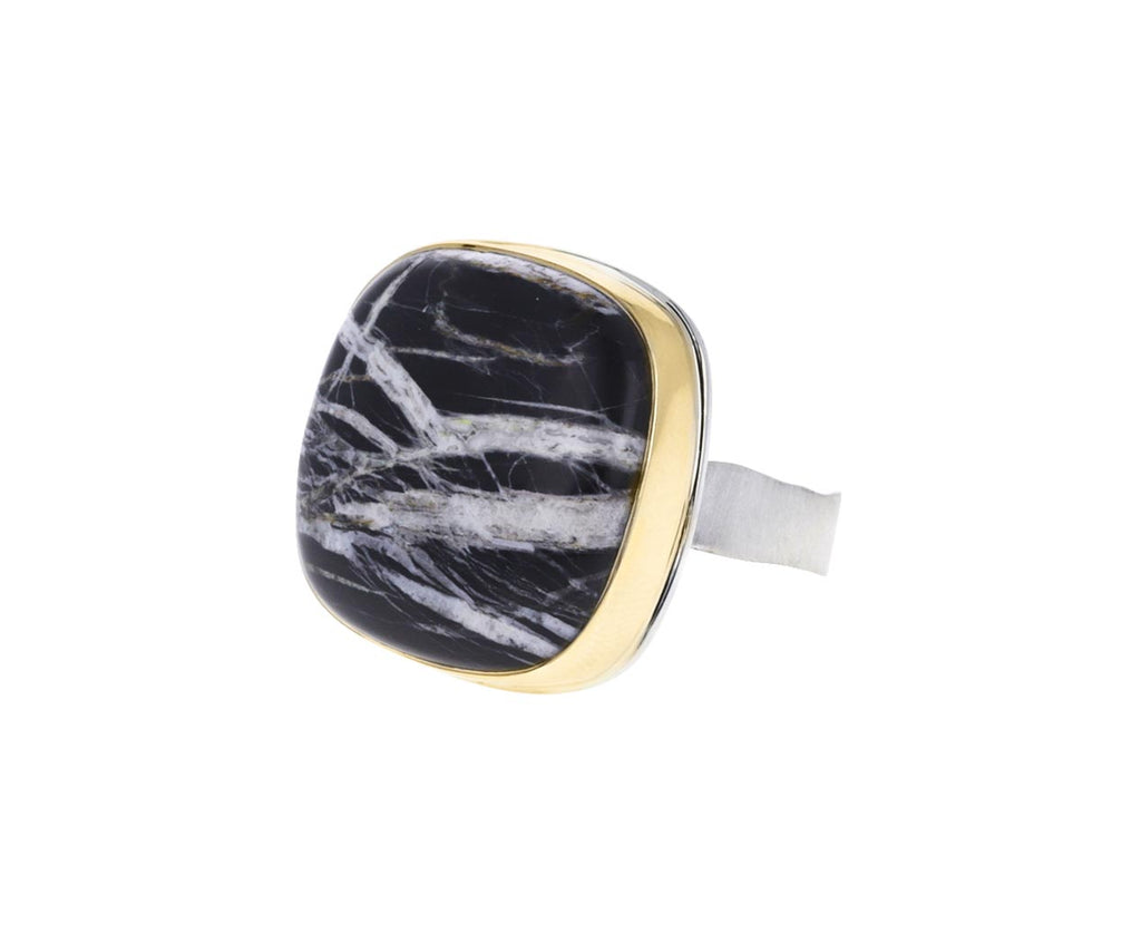 Square White Buffalo Turquoise Ring