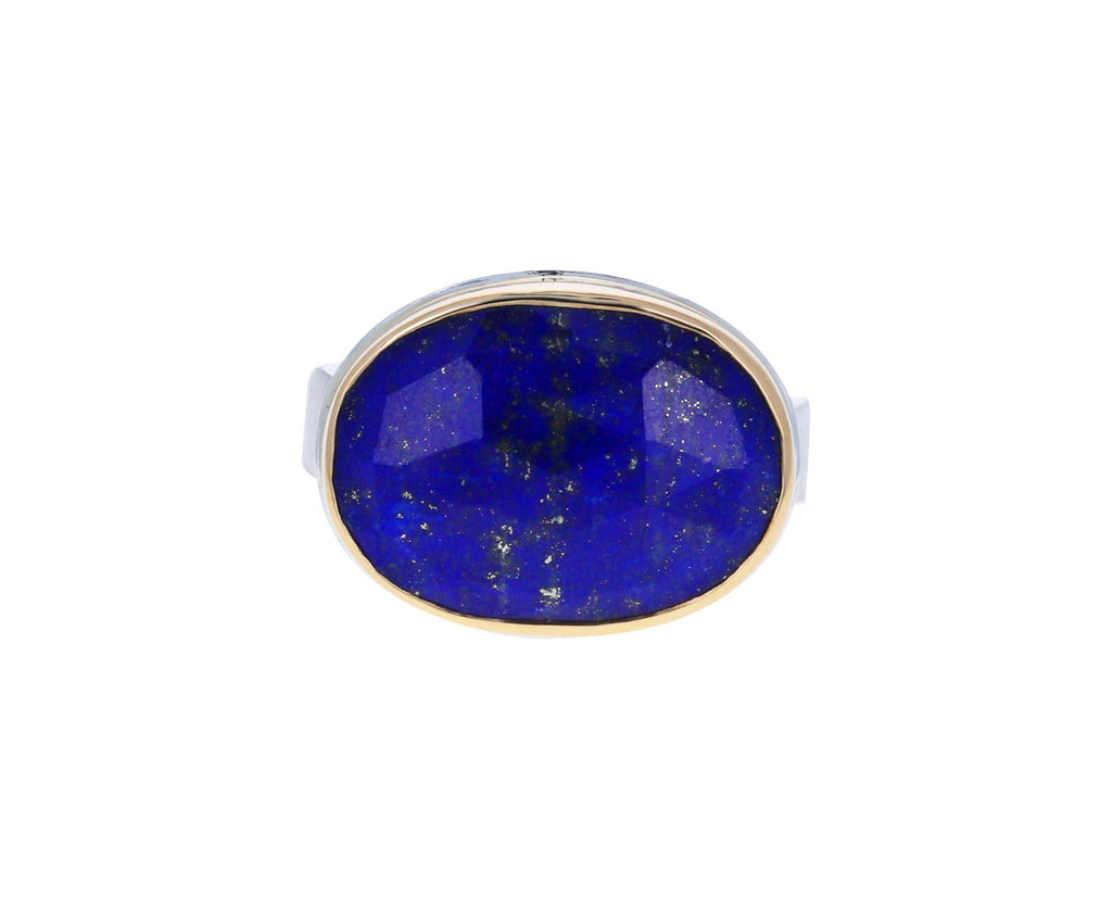 Oval Rose Cut Lapis Ring