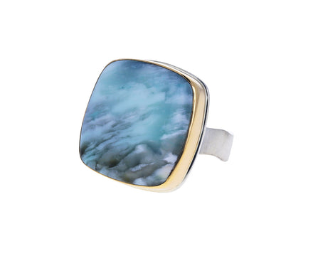Square Blue Fossilized Opalized Wood Ring