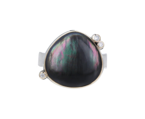 Black Mother of Pearl Diamond Ring