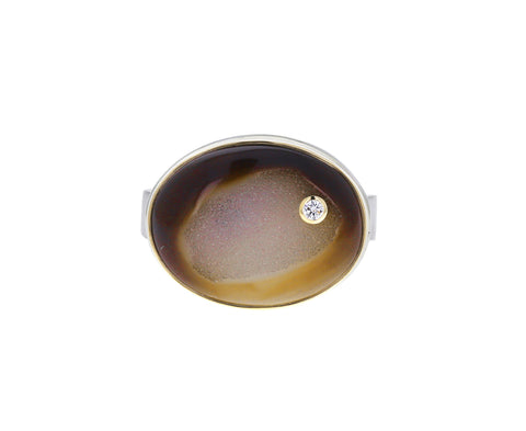 Dark Bali Drusy and Diamond Ring