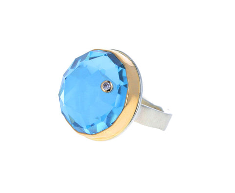 Round Rose Cut Blue Topaz and Diamond Ring