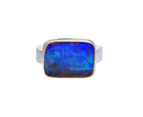 Rectangular Boulder Opal Ring