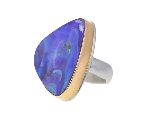 Vertical Triangular Boulder Opal Ring