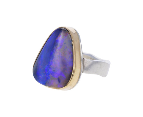 Triangular Boulder Opal Ring