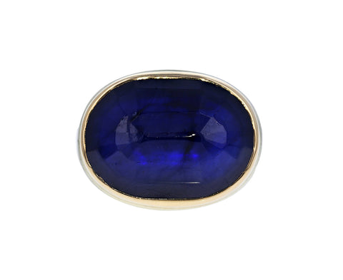 Oval Faceted Blue Sapphire Ring
