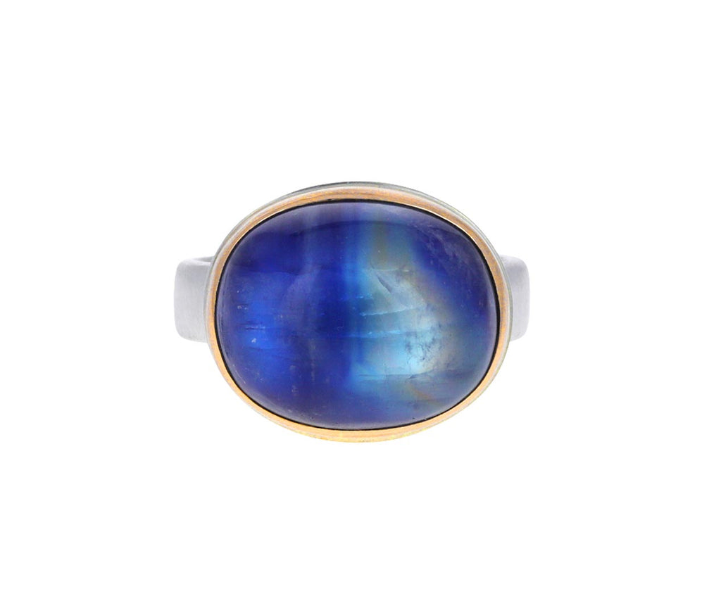 Smooth Oval Blue Rainbow Moonstone Ring