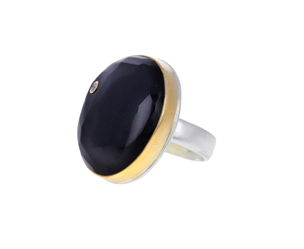 Asymmetrical Black Onyx and Diamond Ring